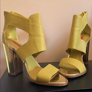 Ankle wrap open toe Sandler- Neon green and gold